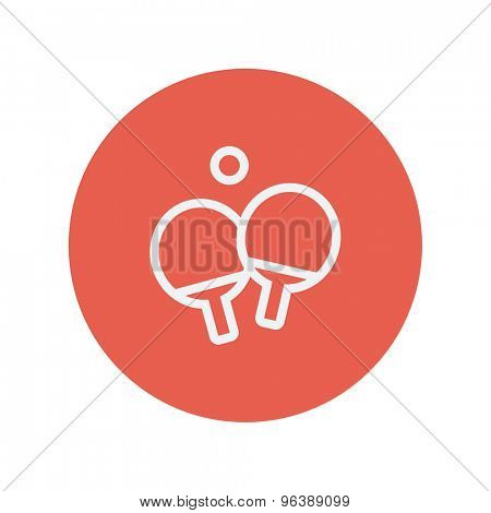 Two table tennis racket with ball thin line icon for web and mobile minimalistic flat design. Vector white icon inside the red circle
