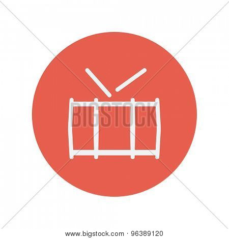 Snare drum thin line icon for web and mobile minimalistic flat design. Vector white icon inside the red circle