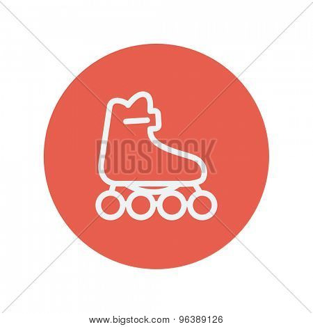 Roller skate thin line icon for web and mobile minimalistic flat design. Vector white icon inside the red circle