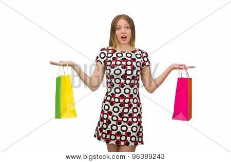 Young woman with plastic bags isolated on white