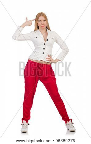 Woman in red pants isolated on white