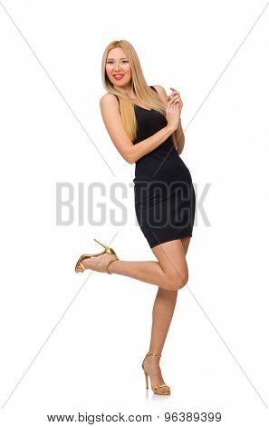 Young pretty woman in mini black dress isolated on white
