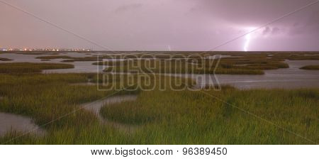 Electrical Storm Approaches Lightning Strikes Galveston Texas West Bay