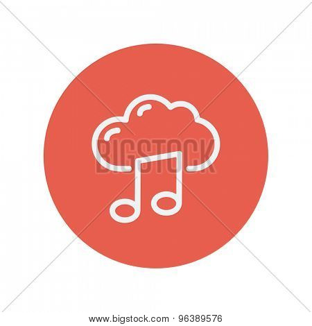 Cloud melody thin line icon for web and mobile minimalistic flat design. Vector white icon inside the red circle