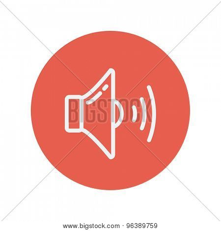 Loudspeaker thin line icon for web and mobile minimalistic flat design. Vector white icon inside the red circle