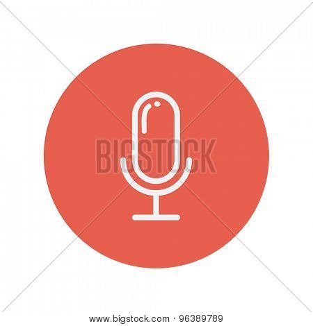 Old microphone thin line icon for web and mobile minimalistic flat design. Vector white icon inside the red circle