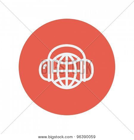 World music thin line icon for web and mobile minimalistic flat design. Vector white icon inside the red circle
