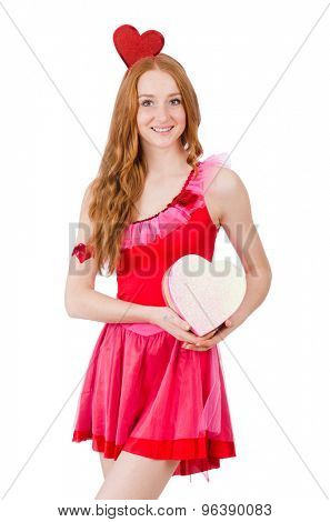 Pretty young model in mini pink dress holding gift box isolated on white