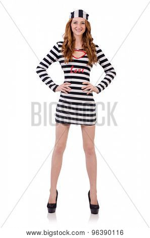 Pretty girl in prisoner uniform isolated on white