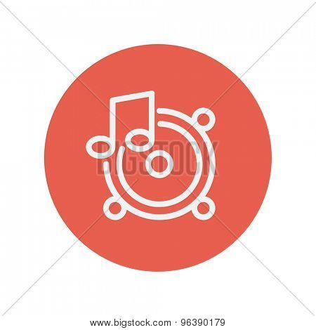 Music tambourine thin line icon for web and mobile minimalistic flat design. Vector white icon inside the red circle