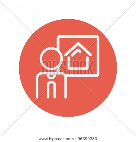 Real estate agent speech thin line icon for web and mobile minimalistic flat design. Vector white icon inside the red circle
