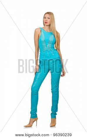 Pretty blond woman in blue pants and shirt isolated on white