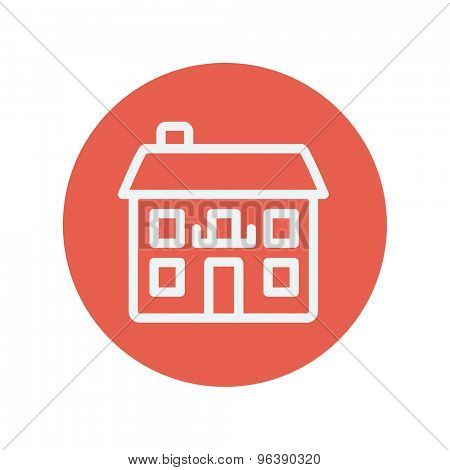 Real estate house thin line icon for web and mobile minimalistic flat design. Vector white icon inside the red circle