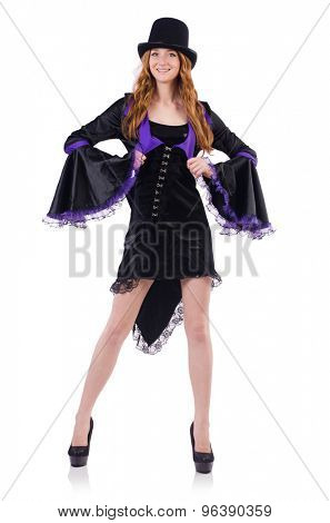 Pretty girl in purple carnival clothing and hat isolated on white