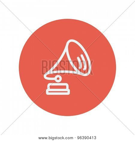Gramophone thin line icon for web and mobile minimalistic flat design. Vector white icon inside the red circle