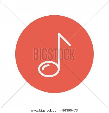 Eight note thin line icon for web and mobile minimalistic flat design. Vector white icon inside the red circle