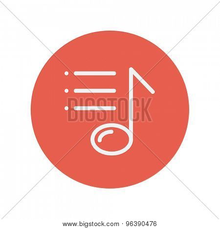 Musical note with bar lines thin line icon for web and mobile minimalistic flat design. Vector white icon inside the red circle