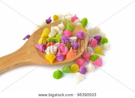 Thai Candy Dessert (aalaw Candy) On Wooden Spoon