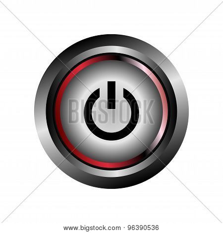 Power off icon button. Power icon glossy gray vector