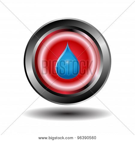 Red glossy blue water drops icon isolated