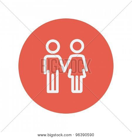 Little siblings thin line icon for web and mobile minimalistic flat design. Vector white icon inside the red circle