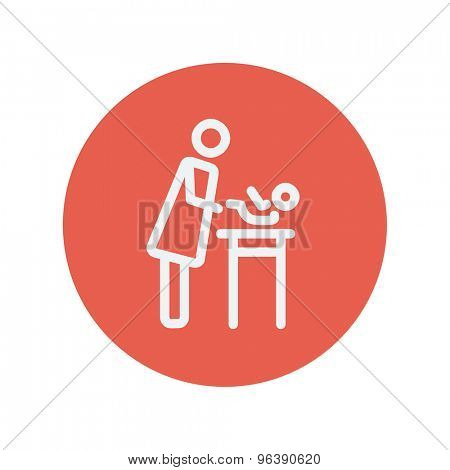 Woman changing the diaper thin line icon for web and mobile minimalistic flat design. Vector white icon inside the red circle