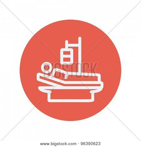 Sick man resting in bed with IV saline solution thin line icon for web and mobile minimalistic flat design. Vector white icon inside the red circle