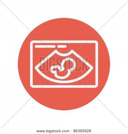 Fetal ultrasound thin line icon for web and mobile minimalistic flat design. Vector white icon inside the red circle