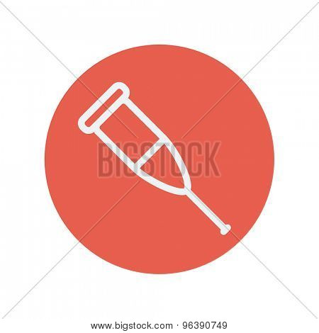 Crutch thin line icon for web and mobile minimalistic flat design. Vector white icon inside the red circle