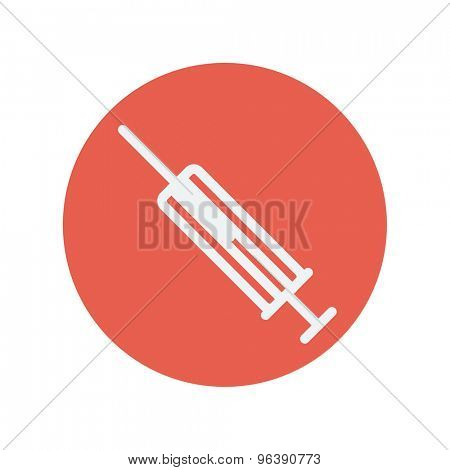 Syringe thin line icon for web and mobile minimalistic flat design. Vector white icon inside the red circle
