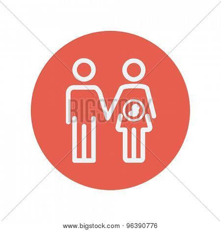 Husband with pregnant wife thin line icon for web and mobile minimalistic flat design. Vector white icon inside the red circle