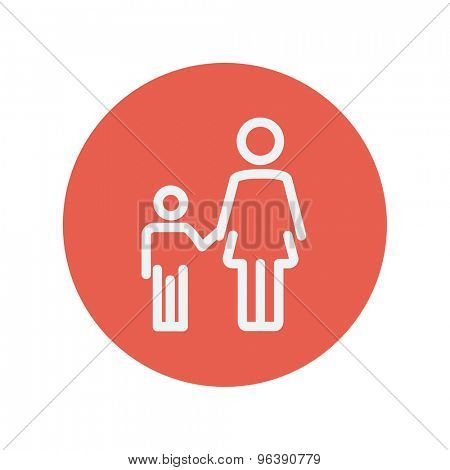 Mother and child thin line icon for web and mobile minimalistic flat design. Vector white icon inside the red circle