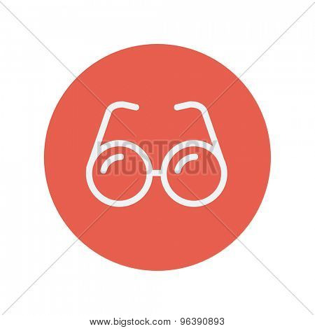 Eyeglasses thin line icon for web and mobile minimalistic flat design. Vector white icon inside the red circle