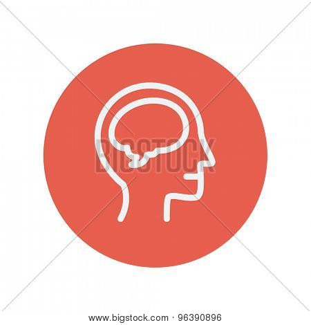 Human head with brain thin line icon for web and mobile minimalistic flat design. Vector white icon inside the red circle