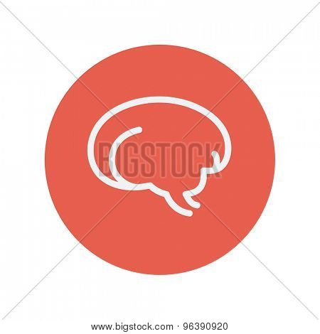 Human brain thin line icon for web and mobile minimalistic flat design. Vector white icon inside the red circle