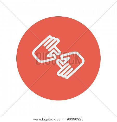 Two hands thin line icon for web and mobile minimalistic flat design. Vector white icon inside the red circle
