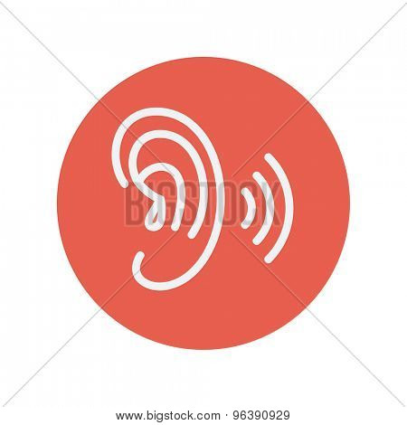 Ear thin line icon for web and mobile minimalistic flat design. Vector white icon inside the red circle