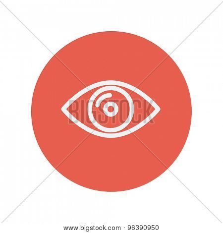 Eye thin line icon for web and mobile minimalistic flat design. Vector white icon inside the red circle