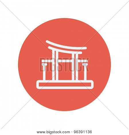 Famous gate thin line icon for web and mobile minimalistic flat design. Vector white icon inside the red circle.
