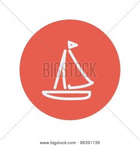 Sailboat thin line icon for web and mobile minimalistic flat design. Vector white icon inside the red circle.