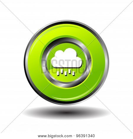 Round button weather icon - Bubble Cloud with Rain