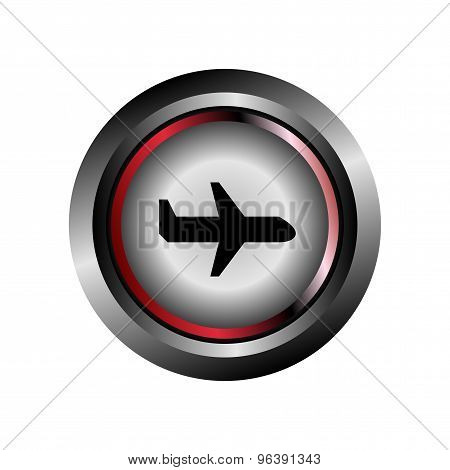 Round sign airplane icon vector
