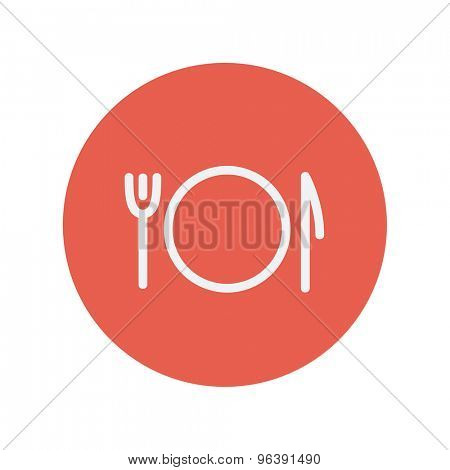 Plate, knife and fork thin line icon for web and mobile minimalistic flat design. Vector white icon inside the red circle.