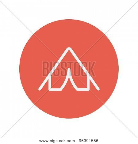 Tent thin line icon for web and mobile minimalistic flat design. Vector white icon inside the red circle.