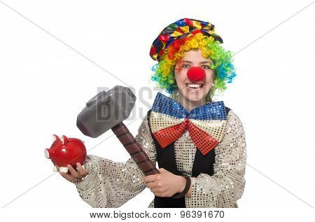 Female clown with hammer and moneybox isolated on white