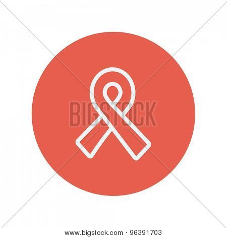 Unity ribbon thin line icon for web and mobile minimalistic flat design. Vector white icon inside the red circle.