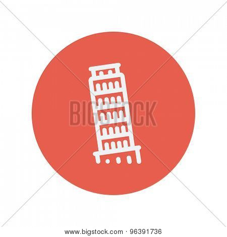 The leaning tower of pisa thin line icon for web and mobile minimalistic flat design. Vector white icon inside the red circle.
