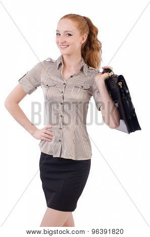 Pretty young employee with briefcase isolated on white