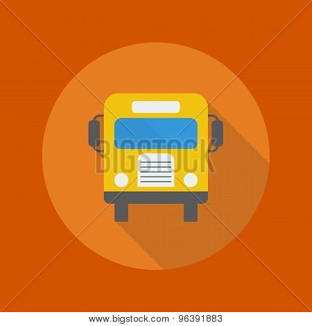 Education Flat Icon. School Bus