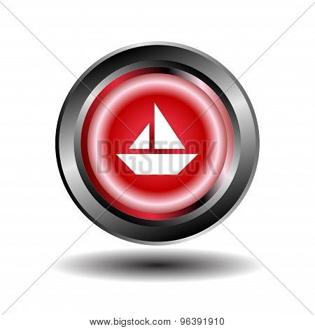 Sailing boat icon. Sailing ship button vector
